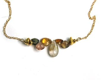 Multi Gemstone Bar Necklace.  Gold Fill or Sterling Silver. Golden Rutilated Quartz, Tourmaline, and Citrine. NS-1919-1