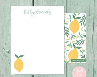 Lemon Stationery, Kids Stationery, Adult Stationery, Citrus Personalized Notecards, notecards, Girls Birthday Gift - Lovely Little Party