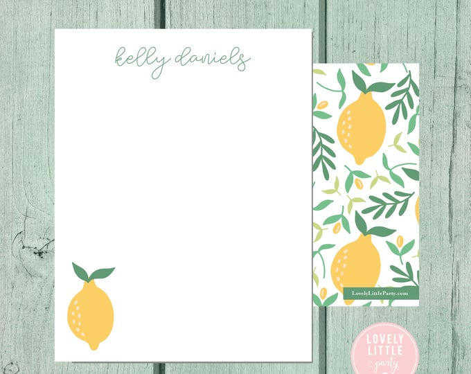 Featured listing image: Lemon Stationery, Kids Stationery, Adult Stationery, Citrus Personalized Notecards, notecards, Girls Birthday Gift - Lovely Little Party