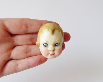 Handmade Doll Brooch  - George Paperclay Antique Doll Face Pin