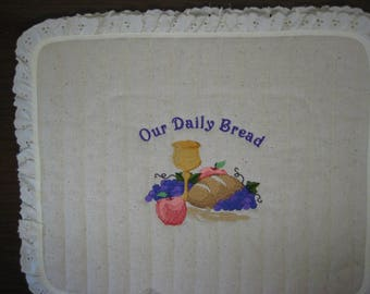 4 Slice Square Toaster Cover Embroidered Our Daily Bread Design