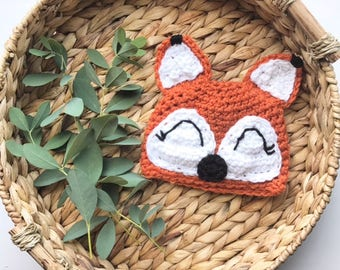 0-3m Crocheted Beanie | Fox