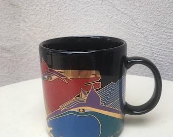 Vintage Laurel Burch black mug Persian Horses 12 oz