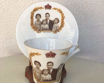 Vintage Souvenir teacup saucer The Royal Family Coronation May 1937 by Royal Albert Crown China England
