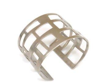 Sterling Silver Wide, Cuff, Architectural Bracelet , Mid Centurey Modern, Satement Cuff,   City Lights  Artisan Handmade  by Sheri Beryl