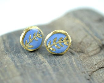 Periwinkle and Gold High Gloss Stud Earrings