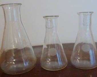 vintage chemistry flasks set of 3