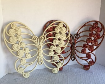 Butterfly Wall Hangings / Vintage Plastic Butterflies / Home Decor by Burwood Products