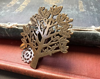Steampunk Brooch, Tree of life, Steampunk Tree, Gear Jewelry, Gear Brooch, Steampunk Pin, Unisex Jewelry, Mens Jewelry, Unisex Brooch, Tree