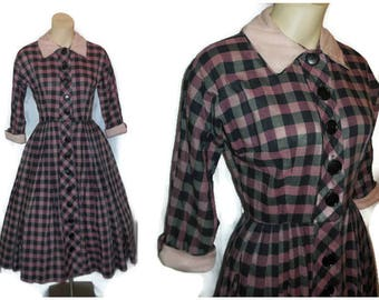 Vintage 1950s Dress Pink Purple Black Plaid Cotton Day Dress Full Skirt Buttons Down Front Kay Windsor Rockabilly S chest 35 as is