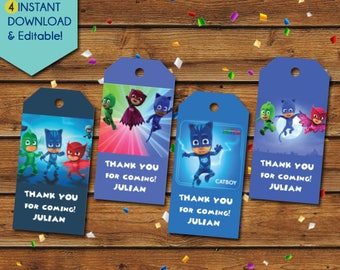 PJ Masks Thank You Tags,  PJ Masks Party Favors, PJ Masks birthday Tags, pj masks favor tags, pj masks party tags, pj masks gift tags