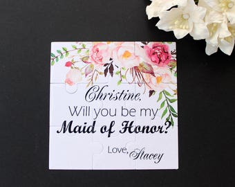 Asking Bridesmaid Will You Be My Maid of Honor Flowergirl Personalized Proposal Gift Will you be My Bridesmaid Puzzle Invitation MOH