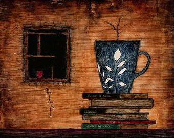 "Art print // Coffee mug - books - window // ""The bite"""