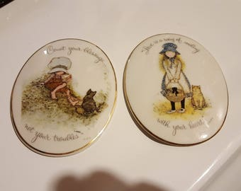Pair of Vintage Holly Hobby Porcelain Plaques, 1973