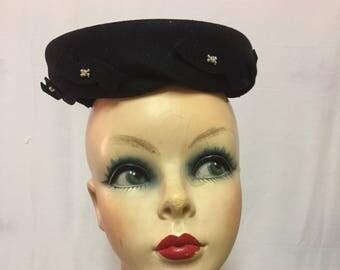 Glenover Henry Pollack Black Twist Pillbox Hat with Rhinestones
