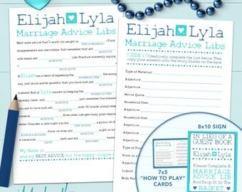 Personalized Wedding Madlib Guest Book or Game - Printable Or Printed [#211]