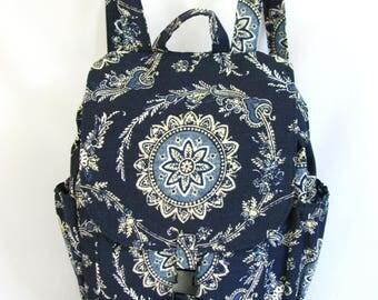 Large backpack- Indigo blue floral medallion canvas