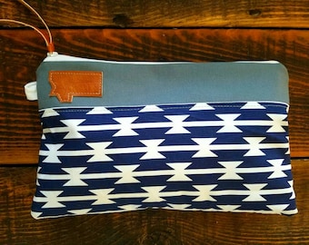 Canvas clutch/Navy and white tomahawk print/Gray canvas/Caramel vegan leather details