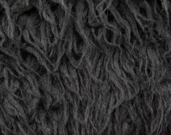 Curly Alpaca 58 Inch Fake Faux Fur Black Fabric by the Yard, 1 yard