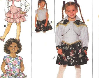 Butterick 6607 Girls Bolero Jacket And Dropped Waist Dress pattern, Size 5-6-6X,  UNCUT