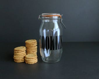 Vintage Typographic Cookies Jar in Black Large Mod Font 2L Clear Glass Container Clamp Top  Triomphe France