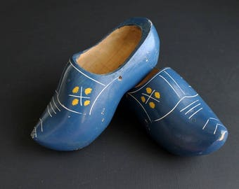 Vintage Wooden Shoes Childrens Yellow Painted Dutch Wood Shoe Pair