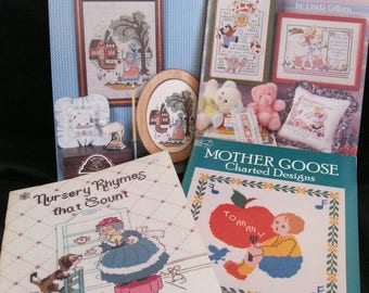Nursery Rhyme Pattern Lot, for cross stitch, needlepoint, four pattern books of designs based on traditional nursery rhymes, Mother Goose
