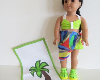 LAST ONE. Made To Fit Like American Girl Doll Clothes; Doll 2 Piece Bikini Swim Suit; Doll Sarong; Doll Limegreen/White Dots Swimsuit