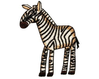 ID 0639 Cartoon Zebra Patch Wild African Animal Embroidered Iron On Applique