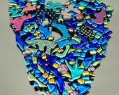 Mosaic Pieces, Assorted Shaped Glass Tiles, Dichroic Glass Tiles, Small Handmade Tiles,  Glass Cabochons, Decorative Tiles