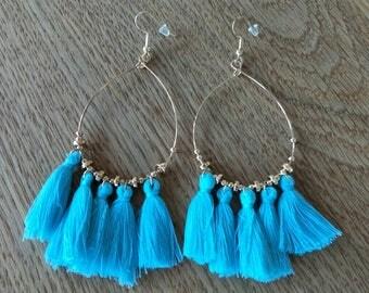 Bright Blue Tassle Earrings/Blue Earrings/Tassle Earrings/Blue Tassles