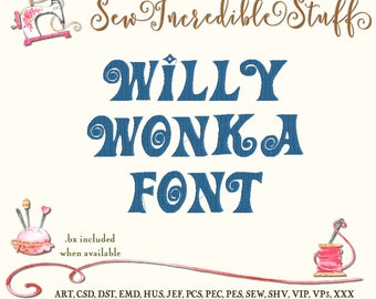 Willy Wonka All Caps Machine Embroidery Font
