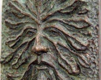 Greenman, Green Man, Greenman Art Tile & sculpture, Greenman plaque or tile, the perfect small Greenman sculpture, wall art, garden art