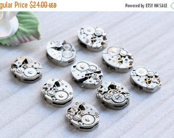 ON SALE Vintage Watch Movements, with Tiny Ruby Red Stones,  lot of (9)