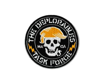 "3"" The Deplorables Task Force Iron-on / Velcro Patch Deplorable MAGA Make America Great Again infowars Motorcycle Club Gang Patriot"