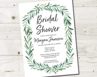 Greenery Bridal Shower Invitation, Eucalyptus Bridal Shower Invitation Printable, Botanical Bridal Shower Invites, Printable or Printed