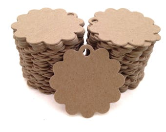 200 Count Scalloped Circle Chipboard hang tags, price tags, favor tags, crafting tags