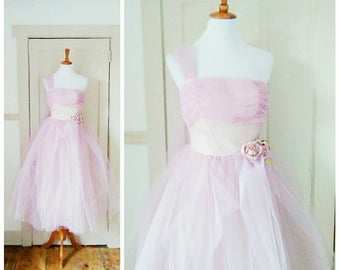 Moonlit Path 1950s One Shoulder Lilac/Purple Tulle Party Dress with Purple Rose Detail