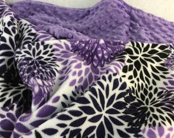 Standard  Size Pillowcase - Purple Bloom Print- Your choice of trim minky