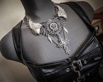 Silver pentagram cross spikes ♰ 666 Pentagram 666 ♰ lace bib necklace