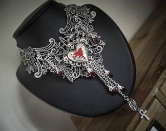 Heart skull ♰Be My Valentine♰ silver bib necklace
