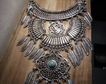 Necklace silver feather bib steampunk dragon Game of Thrones ♰Targaryen♰ maxi
