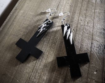 Bolt acrylic cross earrings