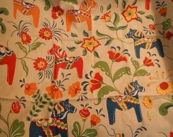 Dala horse fabric 58 wide, 1 yard