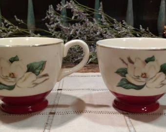 Pretty Vintage Pair of Tea Cups / Ivory and Burgundy Floral with Gold Trim (Harker Pottery?)