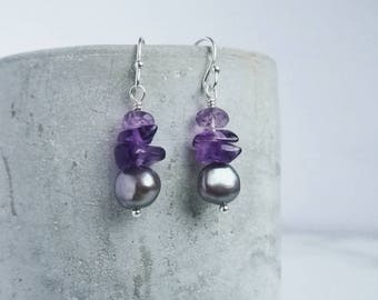 Amethyst & Pearl earrings