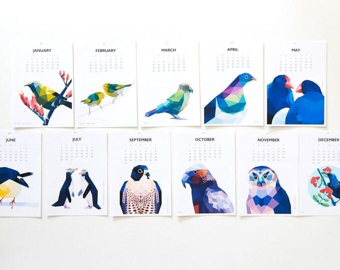 ON SALE Calendar 2018, Kiwi calendar, Bird calendar, New Zealand bird calendar, Tui, Kiwi print, New Zealand gift, Geometric calendar, Art