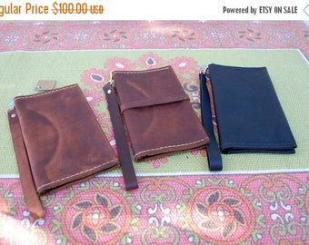 ON SALE NOW Leather iPhone 6 Clutch* Leather iPhone 6 Wallet* Distressed Leather Wallet* Small Leather Clutch* Handmade in the Usa