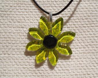 Green Flower pendant in fusing glass, sterling silver bail