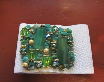 Leather Wrap Bracelet Malachite and Green Stones